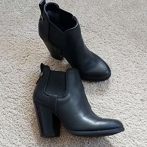 Black Heeled Ankle Booties - Size 5.5